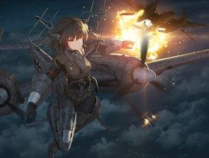 Rating: Safe Score: 67 Tags: aircraft anthropomorphism brown_hair clouds fire mechagirl night orange_eyes original tom-neko_(zamudo_akiyuki) User: sadodere-chan
