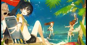 Rating: Safe Score: 144 Tags: beach bikini fang futami_ami futami_mami ganaha_hibiki group hamuzou idolmaster karei_(hirameme) minase_iori shijou_takane swimsuit tree twins umbrella water User: opai