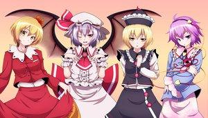 Rating: Safe Score: 22 Tags: aki_shizuha group hat komeiji_satori lunasa_prismriver remilia_scarlet touhou vampire wings User: w7382001