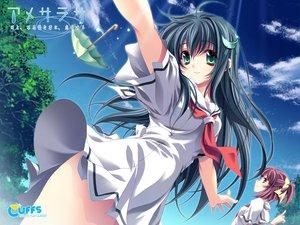 Rating: Safe Score: 21 Tags: amesarasa black_hair chiyokawa_rin cuffs_(studio) green_hair miyama-zero ribbons school_uniform sky umbrella User: Oyashiro-sama