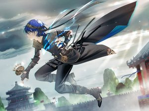 Rating: Safe Score: 25 Tags: all_male blue_eyes blue_hair boots building clouds gloves headband magic male ribbons short_hair sky tidsean vocaloid vocaloid_china zhiyu_moke User: otaku_emmy
