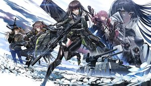 Rating: Safe Score: 96 Tags: aliasing anthropomorphism armor black_hair brown_eyes brown_hair clouds flowers girls_frontline gloves group gun hoodie long_hair m4a1_(girls_frontline) ponytail purple_hair scar skirt sky st_ar-15_(girls_frontline) swav thighhighs torn_clothes twintails ump-45_(girls_frontline) ump-9_(girls_frontline) weapon wink yellow_eyes User: RyuZU