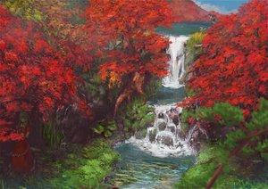 Rating: Safe Score: 143 Tags: autumn dress gintaso green_hair hat kagiyama_hina kawashiro_nitori leaves long_hair scenic shameimaru_aya touhou tree water waterfall wings User: Flandre93