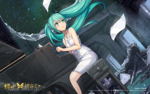 Rating: Safe Score: 119 Tags: aqua_eyes aqua_hair dress hatsune_miku headphones instrument necklace nidy-2d- night paper piano ruins stars summer_dress twintails vocaloid watermark User: humanpinka