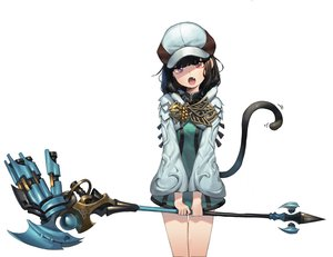 Rating: Safe Score: 72 Tags: black_hair catgirl dress fang final_fantasy final_fantasy_xiv hat miqo'te red_eyes romana short_hair staff tail white User: otaku_emmy