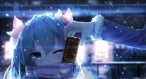 Rating: Safe Score: 288 Tags: aqua_eyes aqua_hair drink hatsune_miku long_hair scarf sen_ya snow twintails vocaloid wink winter User: Flandre93