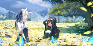 Rating: Safe Score: 45 Tags: 2girls animal animal_ears blue_hair brown_eyes butterfly clouds corset flowers green_eyes landscape long_hair original scenic sky tagme_(artist) tree white_hair User: BattlequeenYume