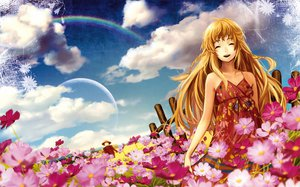 Rating: Safe Score: 25 Tags: blonde_hair clouds dress flowers long_hair moon orange_hair original rainbow siro sky User: Zloan