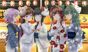 Rating: Safe Score: 16 Tags: anthropomorphism black_hair blush braids brown_hair error_musume_(kancolle) festival food green_eyes green_hair group japanese_clothes kantai_collection kiso_(kancolle) kitakami_(kancolle) kuma_(kancolle) long_hair mask ooi_(kancolle) pink_eyes purple_hair short_hair signed summer tagme_(artist) tama_(kancolle) yukata User: RyuZU