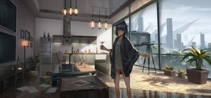 Rating: Safe Score: 87 Tags: animal_ears black_hair building city drink green_eyes gun necklace original paper scenic weapon yurichtofen User: FormX