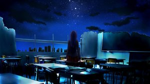 Rating: Safe Score: 149 Tags: clouds dark long_hair moon night ruins scenic school_uniform sky stars User: aubrnova