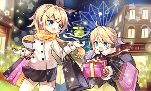 Rating: Safe Score: 22 Tags: aqua_eyes blonde_hair blush building christmas city earmuffs fujii_shino hoodie kagamine_len kagamine_rin male night ponytail ribbons scarf short_hair skirt thighhighs vocaloid User: otaku_emmy