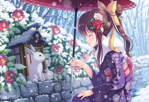 Rating: Safe Score: 146 Tags: animal blush bow brown_hair flowers japanese_clothes kimono long_hair original ponytail rabbit rose snow tonchan umbrella winter User: Flandre93