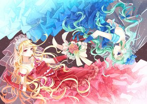 Rating: Safe Score: 63 Tags: 2girls blonde_hair blue_eyes dress flowers gloves green_hair hat headdress long_hair necklace nekozuki_yuki original red_eyes wedding_attire User: FormX
