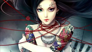 Rating: Safe Score: 183 Tags: bicolored_eyes black_hair long_hair necklace no_bra realistic tagme tagme_(artist) tattoo topless User: Mund