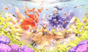 Rating: Safe Score: 37 Tags: animal aqua_eyes aqua_hair barefoot bubbles catbell fish flowers japanese_clothes long_hair orange_eyes original pink_hair purple_eyes short_hair twintails underwater water User: RyuZU