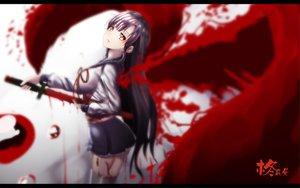 Rating: Safe Score: 21 Tags: black_hair blood hk_(zxd0554) long_hair red_eyes skirt sword weapon User: humanpinka