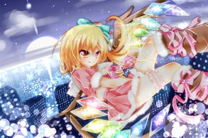 Rating: Safe Score: 62 Tags: blonde_hair bow building christmas city flandre_scarlet pink_eyes ponytail ribbons short_hair skirt sky stars sunset touhou upskirt vampire wings yuimari User: ガラス