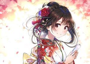 Rating: Safe Score: 101 Tags: blush braids brown_eyes brown_hair close flowers headdress japanese_clothes kentaurosu kimono original phone rose short_hair User: FormX
