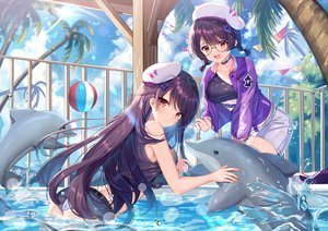 Rating: Safe Score: 99 Tags: 2girls animal ass ball blush braids clouds dolphin gejigejier girl_cafe_gun_(game) glasses hat purple_hair shi_wuxia shi_wu_you shorts sky tree twintails water wet User: BattlequeenYume