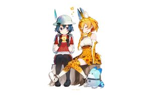 Rating: Safe Score: 42 Tags: 2girls animal_ears anthropomorphism blonde_hair blue_hair blush bow breasts catgirl elbow_gloves feathers food gloves hat kaban kemono_friends lucky_beast_(kemono_friends) mika_pikazo pantyhose serval short_hair shorts tail thighhighs watermark white User: RyuZU