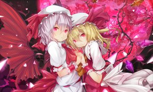 Rating: Safe Score: 89 Tags: dress flandre_scarlet hat moon ogipote red_eyes remilia_scarlet touhou vampire wings User: opai