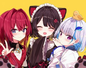 Rating: Safe Score: 47 Tags: ange_katrina animal animal_ears bird black_hair blue_eyes blush choker doggirl fang flat_chest gray_hair headdress inui_toko japanese_clothes kimono lize_helesta long_hair maid nijisanji purple_eyes red_hair shinoba short_hair yellow User: otaku_emmy