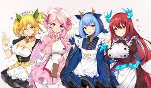 Rating: Safe Score: 53 Tags: blonde_hair blue_hair breast_hold breasts brown_eyes cleavage dress gloves green_eyes group headdress horns kinkistark kitchen_dragonmaid laundry_dragonmaid long_hair maid nurse nurse_dragonmaid parlor_dragonmaid pink_hair purple_eyes red_hair short_hair wink wristwear yellow_eyes yu-gi-oh User: RyuZU