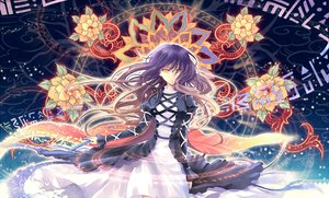 Rating: Safe Score: 125 Tags: dress flowers hijiri_byakuren kieta long_hair magic purple_hair touhou yellow_eyes User: Tensa