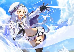 Rating: Safe Score: 68 Tags: aircraft blush cape clouds gloves hat hololive long_hair mizunashi_(second_run) murasaki_shion navel school_uniform skirt sky thighhighs white_hair yellow_eyes zettai_ryouiki User: sadodere-chan
