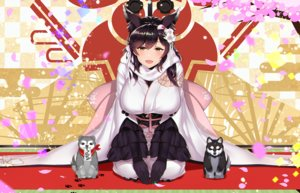 Rating: Safe Score: 84 Tags: animal animal_ears anthropomorphism atago_(azur_lane) azur_lane black_hair breasts dog elbow_gloves foxgirl gloves japanese_clothes kagiyama_(gen'ei_no_hasha) kimono long_hair yellow_eyes User: RyuZU