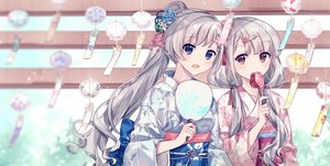 Rating: Safe Score: 77 Tags: 2girls apple blue_eyes blush candy fan food fruit gocoli gray_hair hisakawa_hayate hisakawa_nagi idolmaster idolmaster_cinderella_girls japanese_clothes long_hair ponytail red_eyes twins twintails yukata User: BattlequeenYume