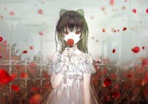 Rating: Safe Score: 102 Tags: aliasing animal_ears brown_hair dress flowers long_hair naru_(ul) original petals red_eyes ribbons rose summer_dress User: otaku_emmy