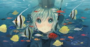 Rating: Safe Score: 53 Tags: animal aqua_eyes aqua_hair bubbles fish hat kantai_collection ro-500_(kancolle) tanuma_(tyny) u-511_(kancolle) underwater water User: FormX