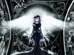 Rating: Safe Score: 120 Tags: building dress feathers gothic monochrome wings User: Oyashiro-sama