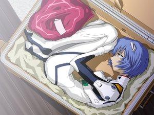 Rating: Safe Score: 56 Tags: ayanami_rei blue_hair bodysuit gainax neon_genesis_evangelion parody short_hair skintight User: Oyashiro-sama