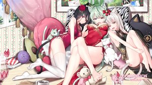 Rating: Safe Score: 30 Tags: animal animal_ears bell bicolored_eyes black_hair brown_eyes cake cat chinese_clothes chinese_dress dress drink flowers food fruit green_eyes green_hair ia_(ias1010) long_hair original red_eyes strawberry tail teddy_bear thighhighs watermark white_hair User: BattlequeenYume