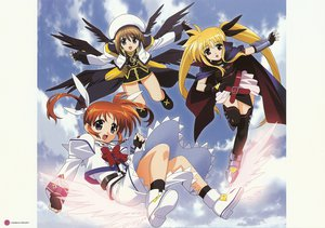 Rating: Safe Score: 17 Tags: fate_testarossa takamachi_nanoha thighhighs wings yagami_hayate User: Oyashiro-sama
