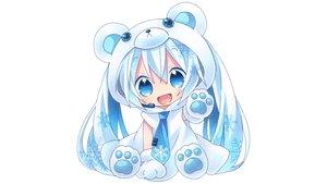 Rating: Safe Score: 189 Tags: blue_eyes blue_hair chibi gloves hatsune_miku hoodie kagami_leo long_hair microphone tie twintails vocaloid white yuki_miku User: mattiasc02