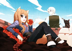 Rating: Safe Score: 34 Tags: animal animal_ears apple clouds craft_lawrence fang food fruit gray_hair horo horse koume_keito long_hair ookami_to_koushinryou orange_hair purple_eyes red_eyes short_hair sky tail watermark wolfgirl User: 秀悟