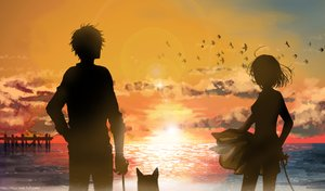 Rating: Safe Score: 98 Tags: animal beach bird clouds dog k-xaby male original see_through silhouette skirt sky sunset water User: FormX