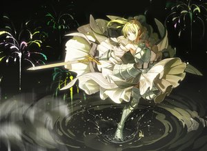 Rating: Safe Score: 80 Tags: armor artoria_pendragon_(all) blonde_hair boots dress fate/grand_order fate_(series) fate/unlimited_codes fireworks gloves green_eyes je35353577 long_hair ponytail saber saber_lily sword water weapon User: otaku_emmy