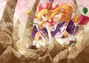Rating: Safe Score: 56 Tags: arinu bow brown_hair chain cherry_blossoms flowers horns ibuki_suika long_hair orange_eyes punch skirt socks touhou tree User: FormX