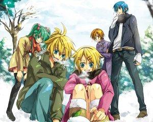 Rating: Safe Score: 16 Tags: group hatsune_miku kagamine_len kagamine_rin kaito male meiko scarf snow tagme_(artist) tree vocaloid winter User: HawthorneKitty