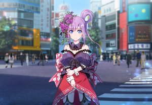 Rating: Safe Score: 84 Tags: blue_eyes breasts building city domo1220 flowers garter_belt original purple_hair User: RyuZU