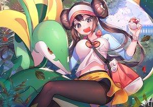 Rating: Safe Score: 89 Tags: black_eyes breasts brown_hair kuri_choko long_hair mei_(pokemon) navel pantyhose pokemon serperior signed skirt twintails User: RyuZU