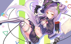 Rating: Safe Score: 63 Tags: blush game_console gloves hat hayataku1234 hololive long_hair murasaki_shion navel purple_hair skirt thighhighs yellow_eyes User: BattlequeenYume