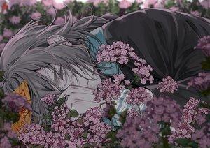 Rating: Safe Score: 48 Tags: all_male braids close dark flowers gloves gray_eyes gray_hair long_hair male mia0309 ofuda original ponytail User: otaku_emmy
