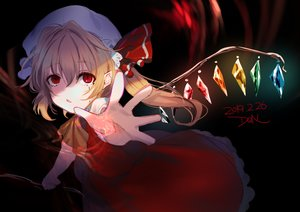 Rating: Safe Score: 33 Tags: blonde_hair dqn_(dqnww) dress fang flandre_scarlet hat magic pointed_ears ponytail red_eyes signed sketch tears touhou vampire wings User: あかり