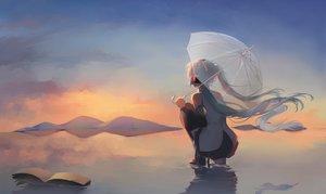 Rating: Safe Score: 52 Tags: book clouds hatsune_miku reflection saihate sky sunset umbrella vocaloid water world's_end_umbrella_(vocaloid) User: FormX
